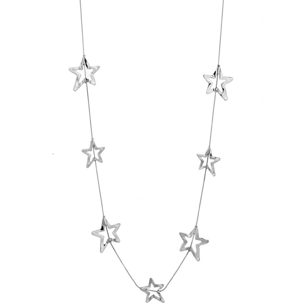 Bisoux Jewellery Long Silver Multi Stars Necklace